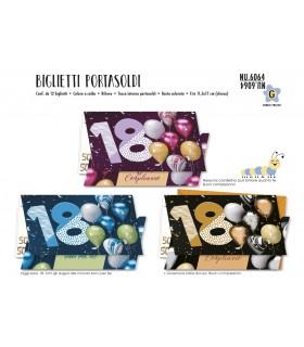 Biglietto Cromo Compleanno 18 Anni Portasoldi conf. 12 pz. assortiti