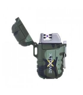 Accendino Elettronico Champ Antivento con arco al plasma e ricarica USB colore Verde Militare