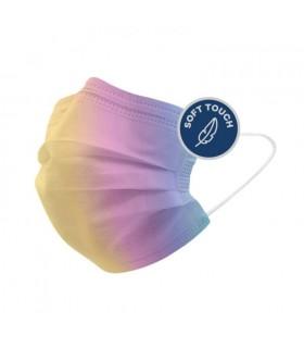 Mascherine Chirurgiche Protettive POPme Monouso 3 Strati colore Rainbow Blister da 5 pz.
