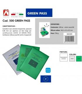 Custodia PVC colorato Trasparente GREEN PASS conf. 100 pa. assortiti in 2 colori IN PRENOTAZIONE C/O FINE LUGLIO