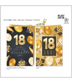 Biglietto Cromo  Compleanno 18Anni con sfondo Nero  conf. 18 pz.