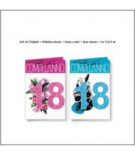 Biglietto Cromo 18 Anni Fiori&Musica conf. da 12 pz  assortiti