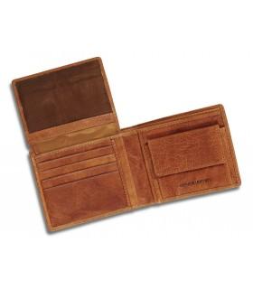 Portafoglio e Portacarte Dal Negro con Ribalta 8 Posti in Vera Pelle Color Cuoio