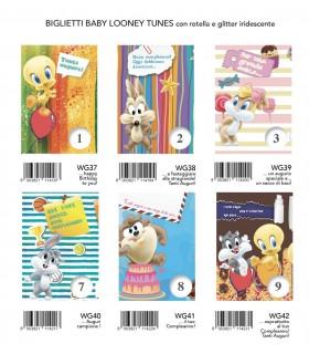 Biglietto Marpimar Compleanno Baby Looney Tunes con Rotella conf. 12 pz. assortiti