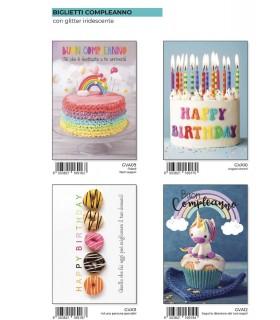 Biglietto Marpimar Compleanno con Rilievo e Foil conf. 12 pz. assortiti
