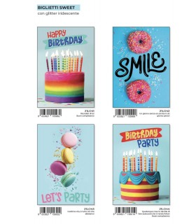 Biglietto Marpimar Compleanno Sweet con Glitter conf. 12 pz. assortiti