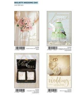 Biglietto Marpimar Matrimonio Day con Foil Oro conf. 12 pz. assortito