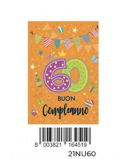 Biglietto Cromo Buon Complenno 60 Anni con Glitter conf. 6 pz. monosoggetto