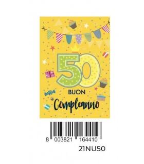 Biglietto Cromo Buon Compleanno 50 Anni con Glitter conf. 6 pz. monosoggetto
