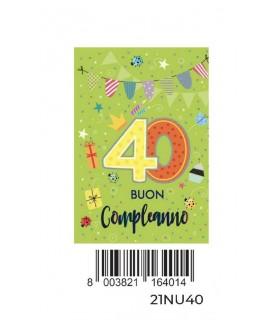 Biglietto Marpimar Compleanno 40 Anni con Glitter conf. 6 pz. monosoggetto