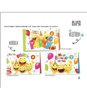 Biglietto Cromo Compleanno Bambini con Rotella 1-10 Anni conf. 12 pz, assortiti