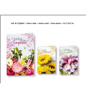 Biglietto Cromo Compleanno Fiori e Farfalla conf. 12 pz. assortiti