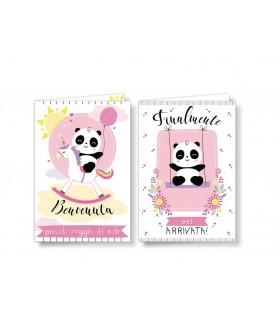 Biglietto Cromo Nascita Panda Femmina conf. 12 pz. assortiti