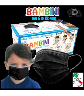 Mascherine Chirurgiche Protettive BAMBINI GDA COLORE NERO Tipo II Monouso conf. 50 pz. (imballate in blister da 10 pz.)