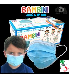 Mascherine Chirurgiche Protettive BAMBINI GDA COLORE CELESTE Tipo II Monouso conf. 50 pz. (imballate in blister da 10 pz.)