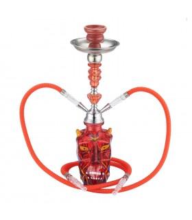 Narghilè Champ Malik Benslimane in Vetro 2 Tubi H.45 cm colore Rosso
