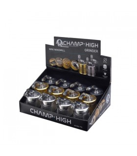 Grinder Champ in Metallo con Macinino 4 Parti Diam.40mm conf. 12 pz. assortito con 3 colori