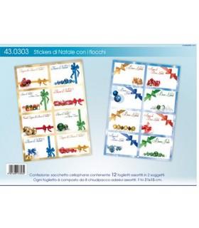 Stickers di Natale contenente 12 foglietti assortiti in 2 soggetti