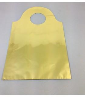 Buste Regalo Lucide in polipropilene misure 20x33 con manico conf. 50 pz.  colore oro