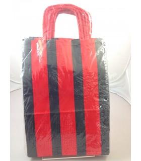 Buste Regalo Carta manico in cordino mis. 22x31 colore Rosso/Nere conf. 12 pz.