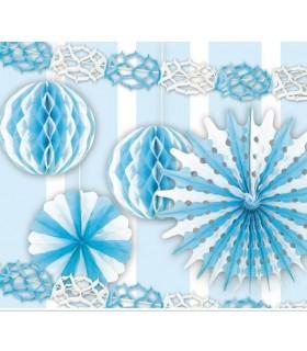 Set 6 Decorazioni Azzurre assortite