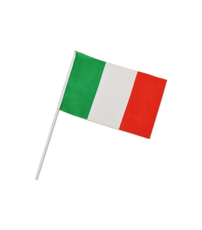 Bandierina Italia in Poliestere con asta in plastica Misura 30x20 cm