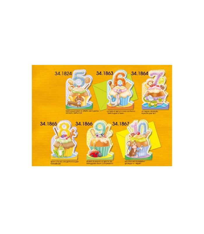 Biglietti Cromo Buon Compleanno Bambini 10 Anni Conf 6 Pz